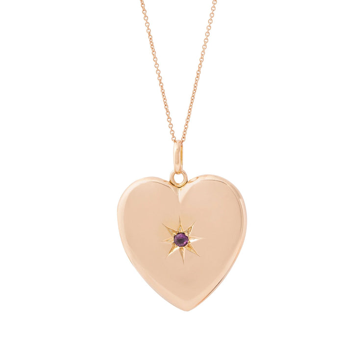 Victorian 10K Rose Gold and Garnet Starburst Heart Locket
