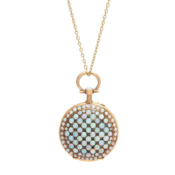 Swiss Opal, Demantoid Garnet, and 18K Gold Locket