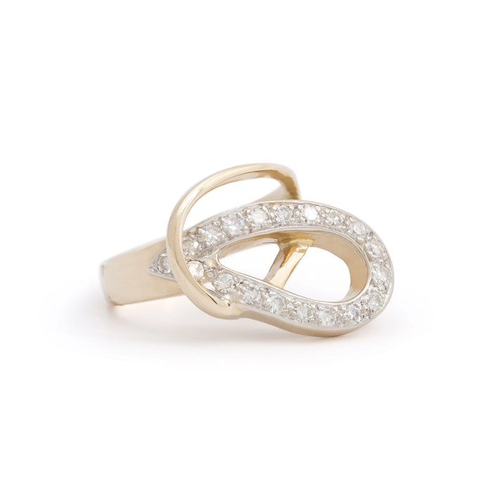 14k Bi-Color Gold Diamond Knot Ring
