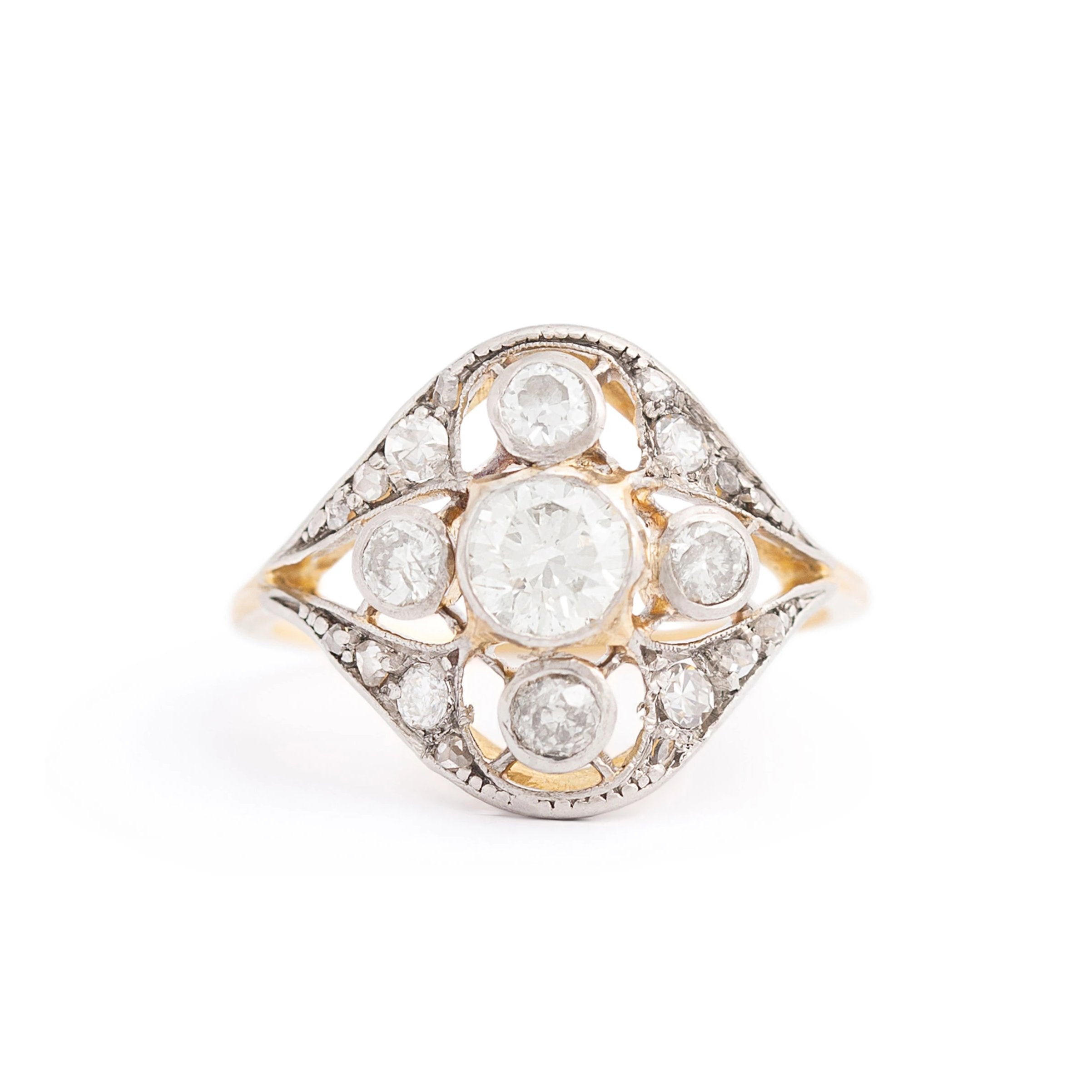 Edwardian Old European Cut Diamond Platinum and 18K Gold Ring