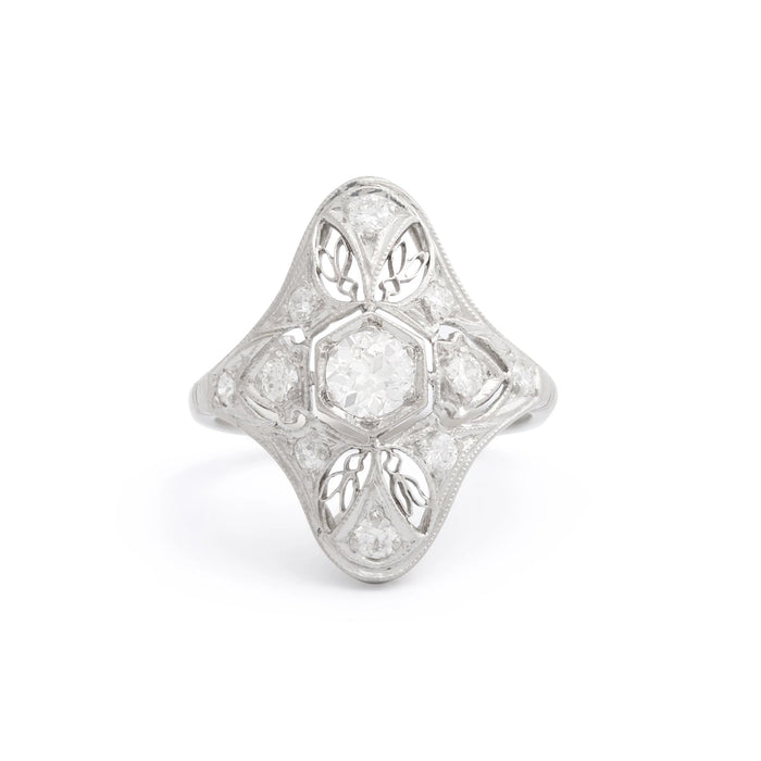 Edwardian Old European Cut Diamond And Platinum Navette Ring