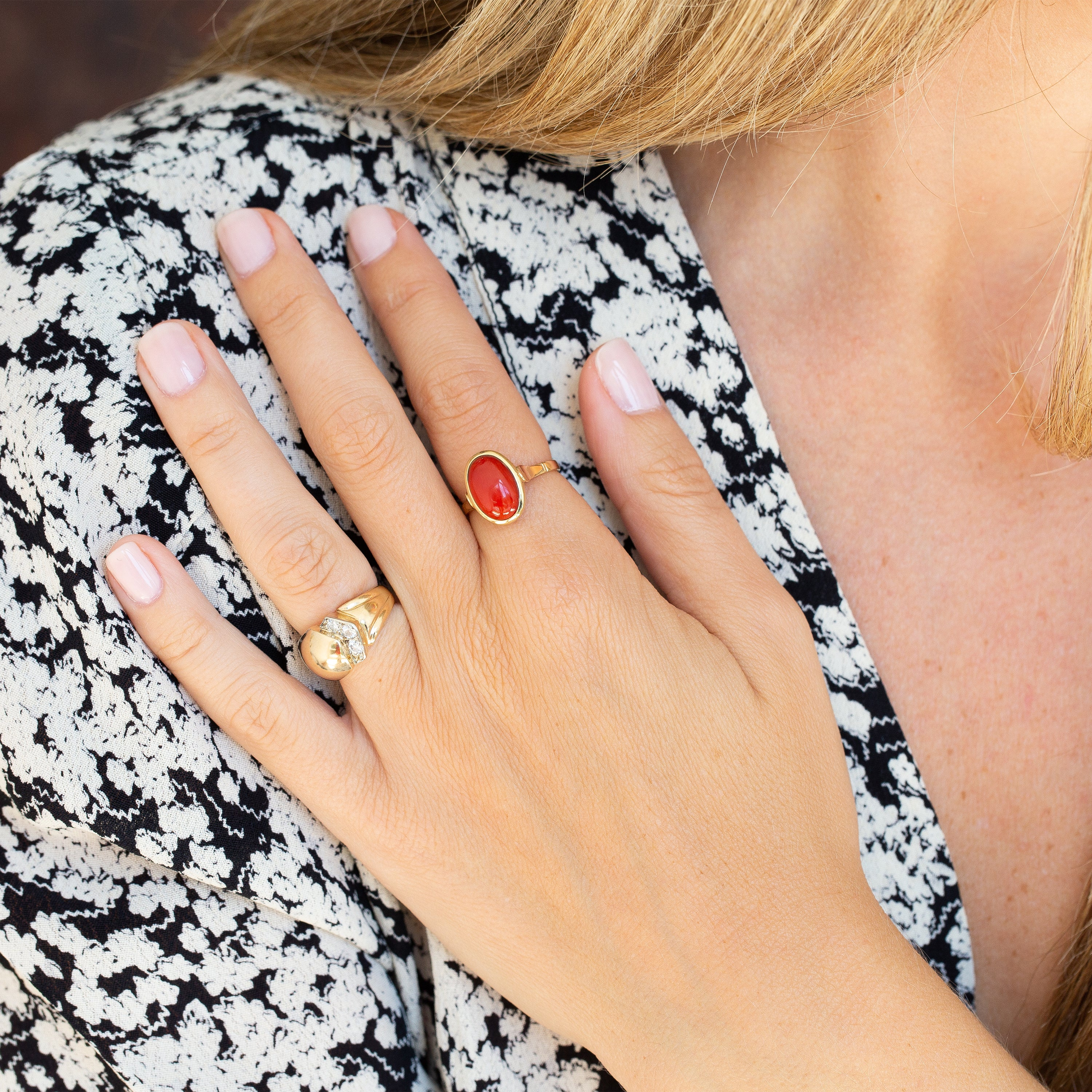 Coral and 14k Gold Ring