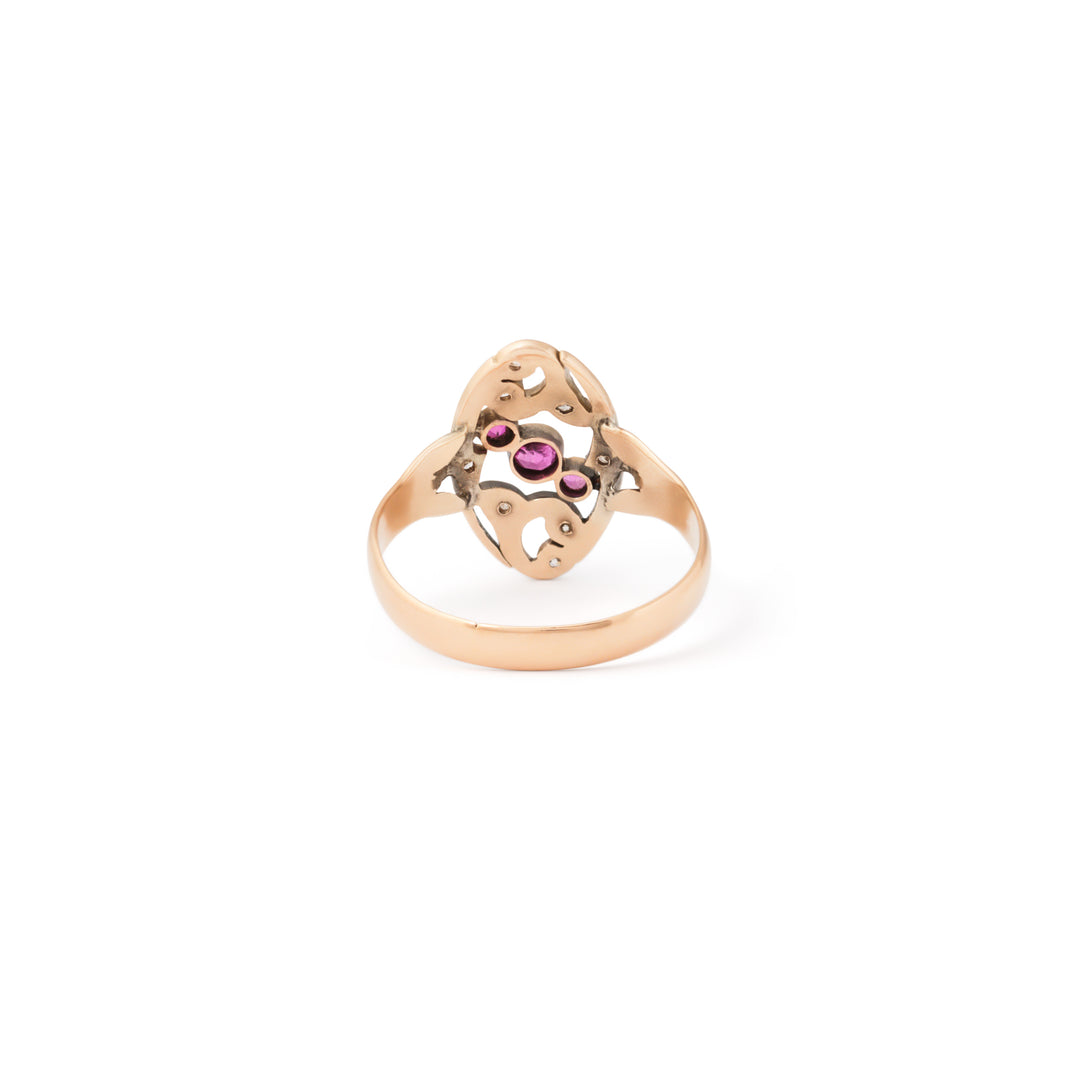 Ruby and Diamond Open Scrolling Gold Ring