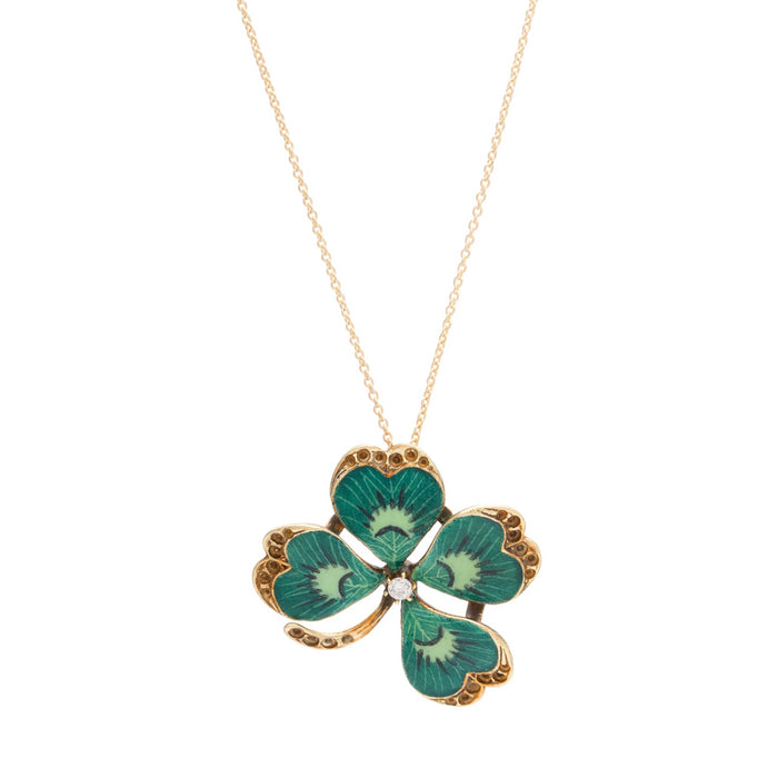 Victorian Four-Leaf Clover Enamel and 14K Gold Pendant Necklace