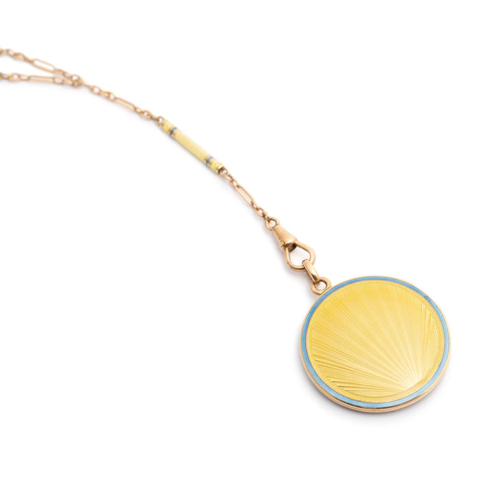 "Art Deco ""Sunrise"" Guilloche Enamel 14k Gold Locket and Chain"