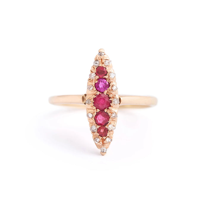 Victorian Ruby and Rose Cut Diamond Navette 10k Gold Ring