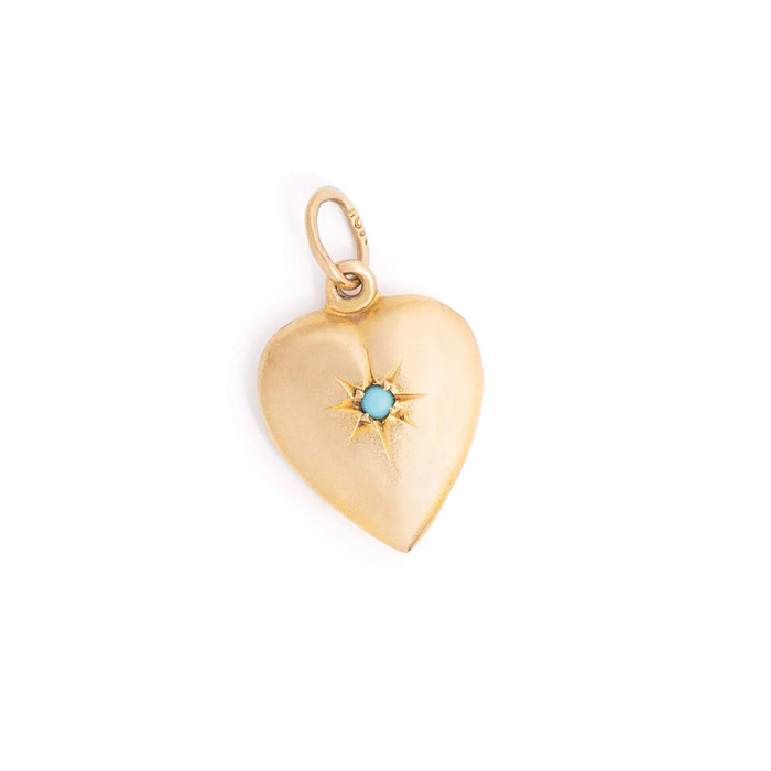 Victorian 10k Yellow Gold and Turquoise Starburst Heart Charm