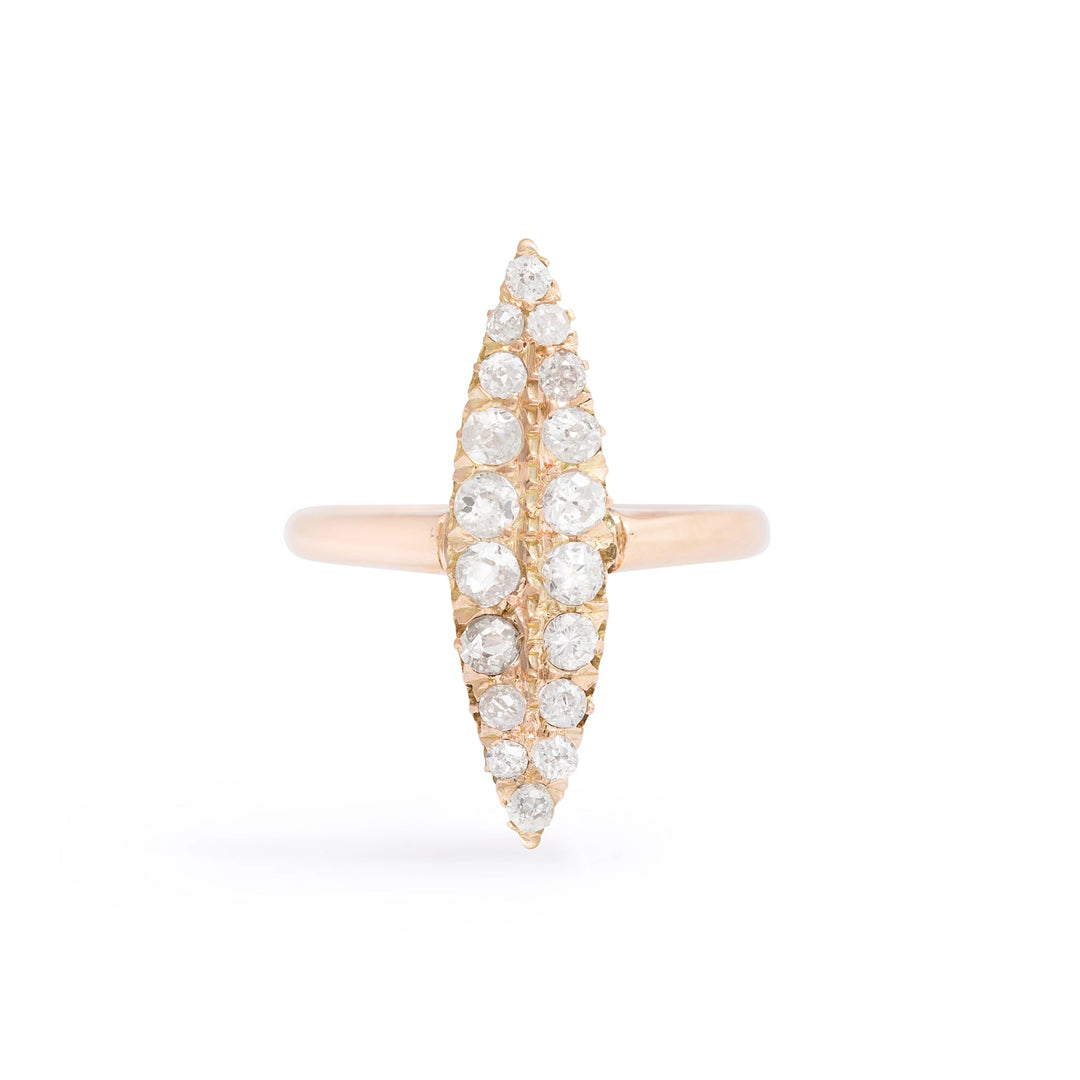 Victorian Diamond Navette 14k Gold Ring