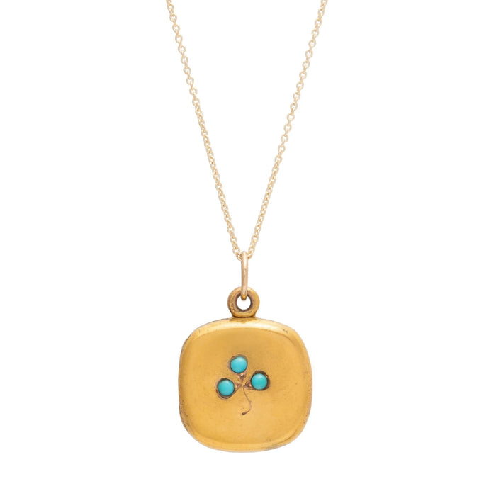 Turquoise Clover and 10k Gold Locket