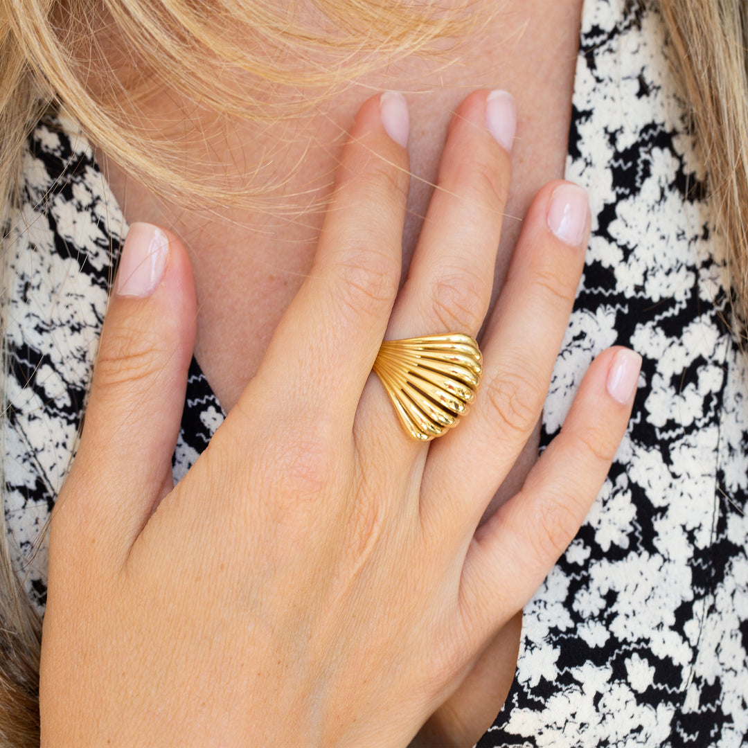 Fluted Dome 18k Gold Cocktail Ring
