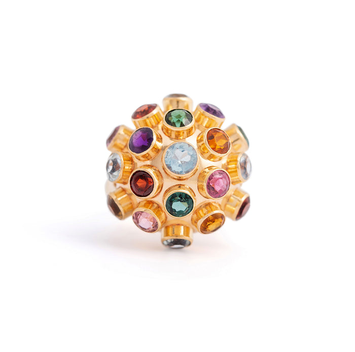 Large Multi-Stone 18k Gold Sputnik Ring