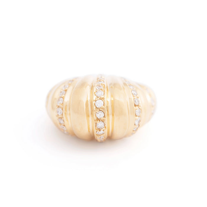 Fluted Dome Diamond and 14K Gold Cocktail Ring