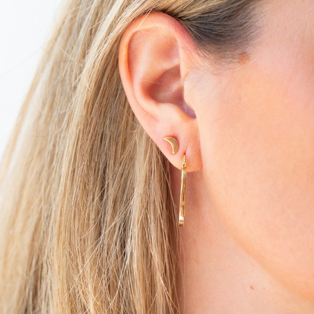 14K Gold Squared Hoop Earrings