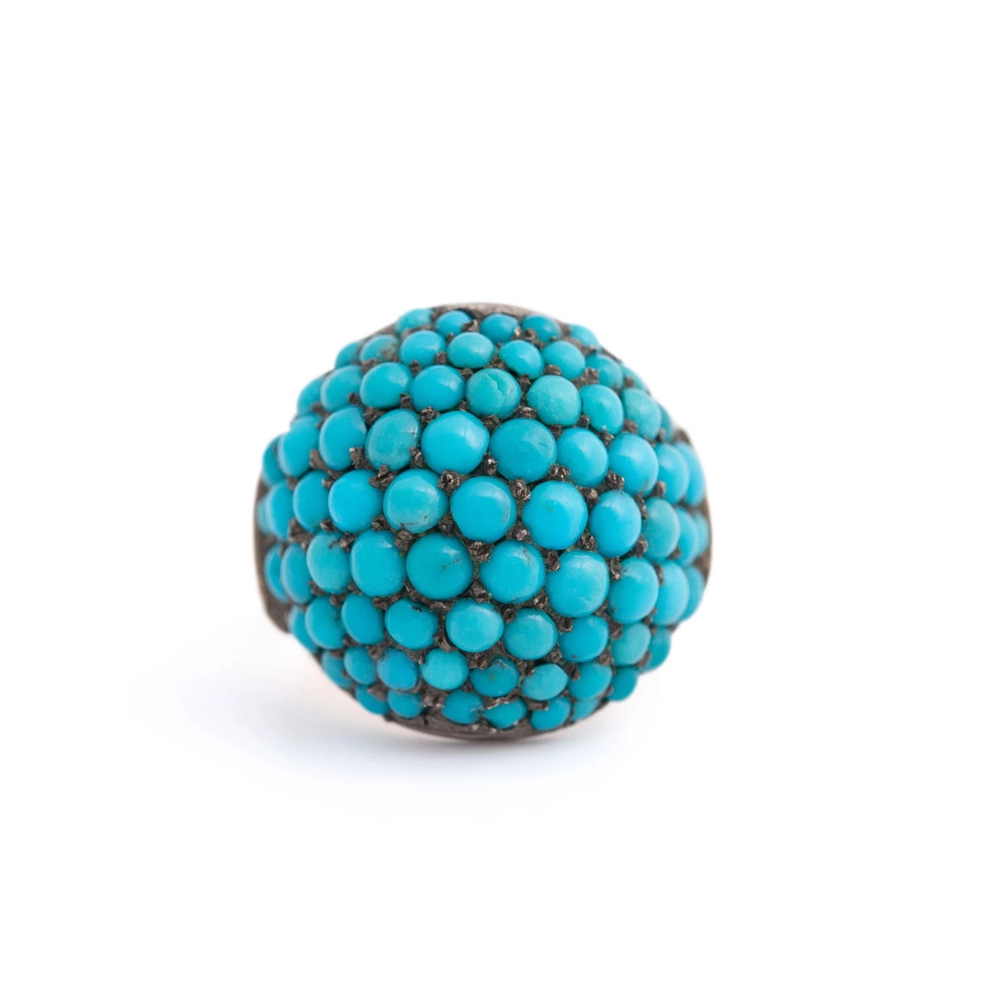 Victorian Pavé Turquoise, Silver, and 14k Gold Bombe Ring