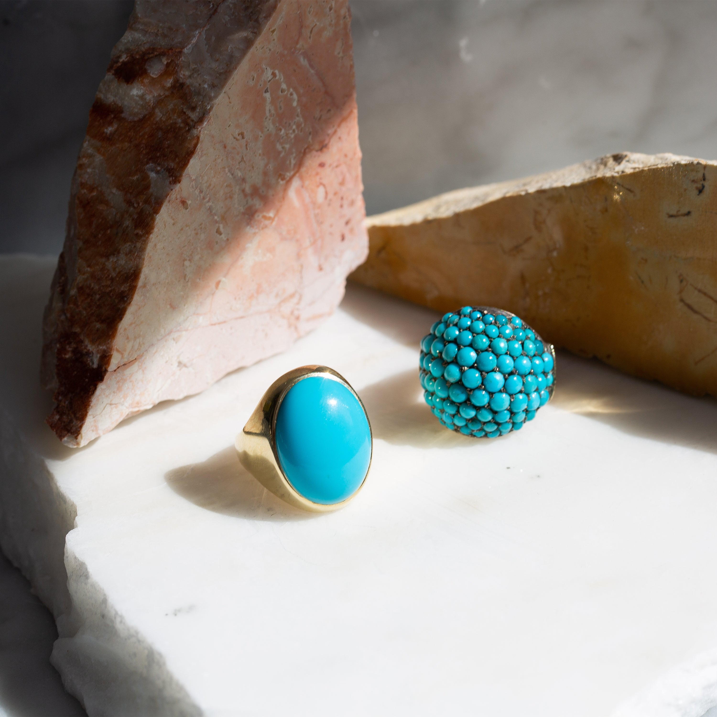 Large Turquoise and 14k Gold Ring