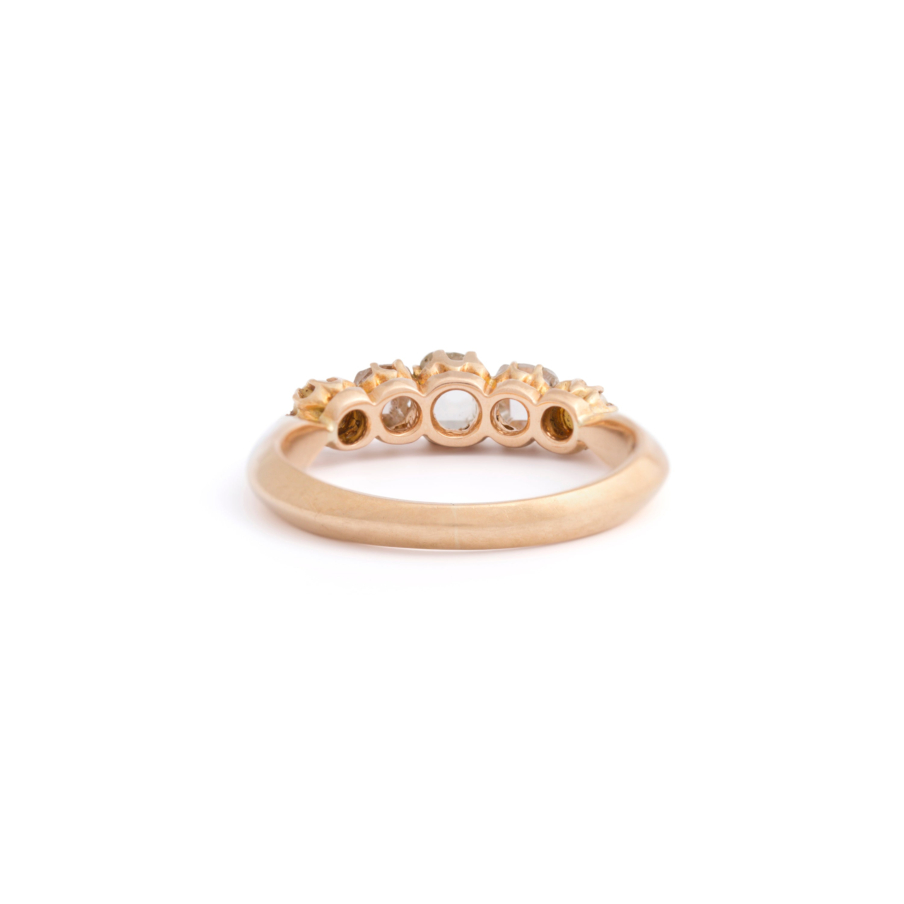 Victorian 5-Stone Pearl and Old Cut Diamond 18k Gold Ring