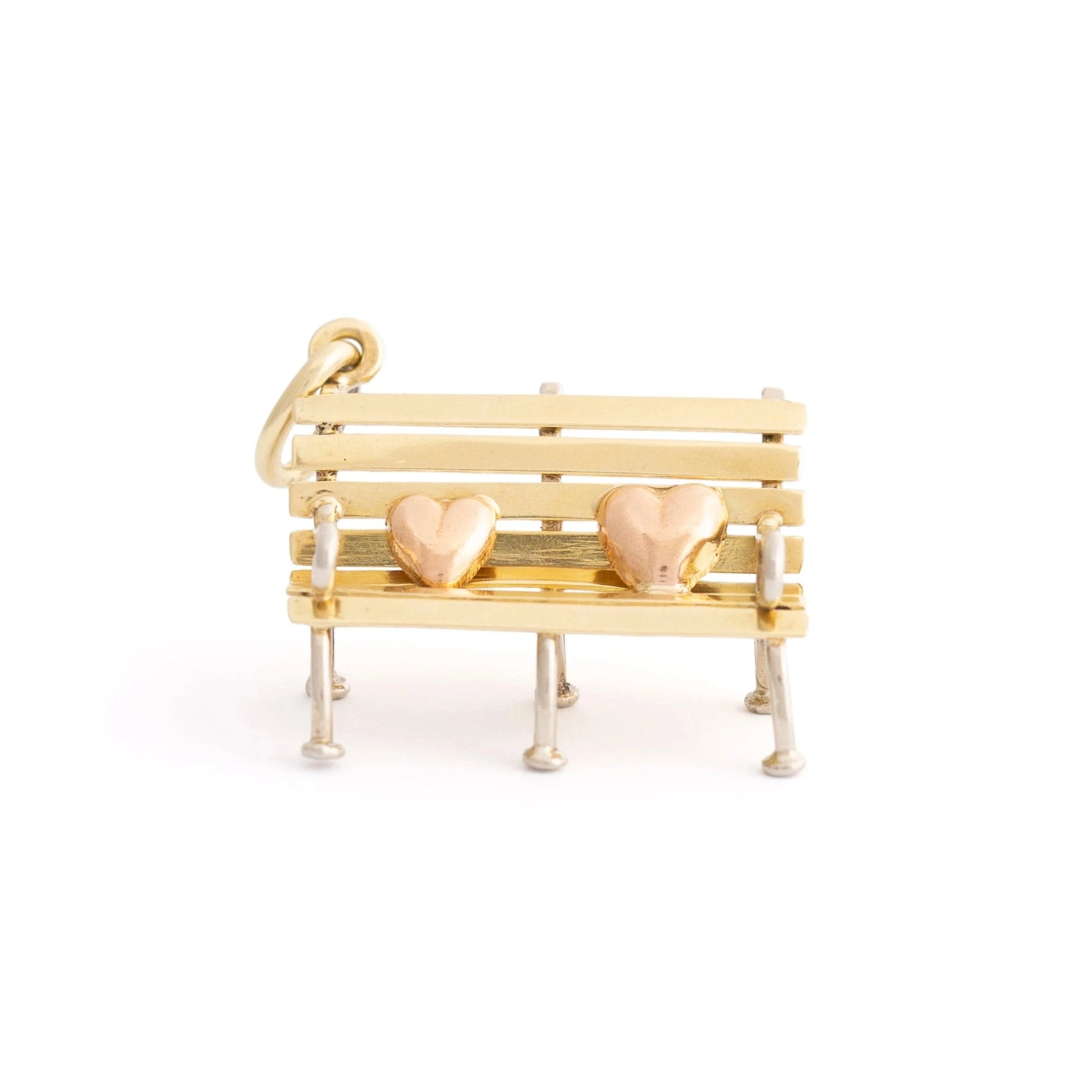 Austrian Tri-Color 14k Gold Lovers Bench Charm