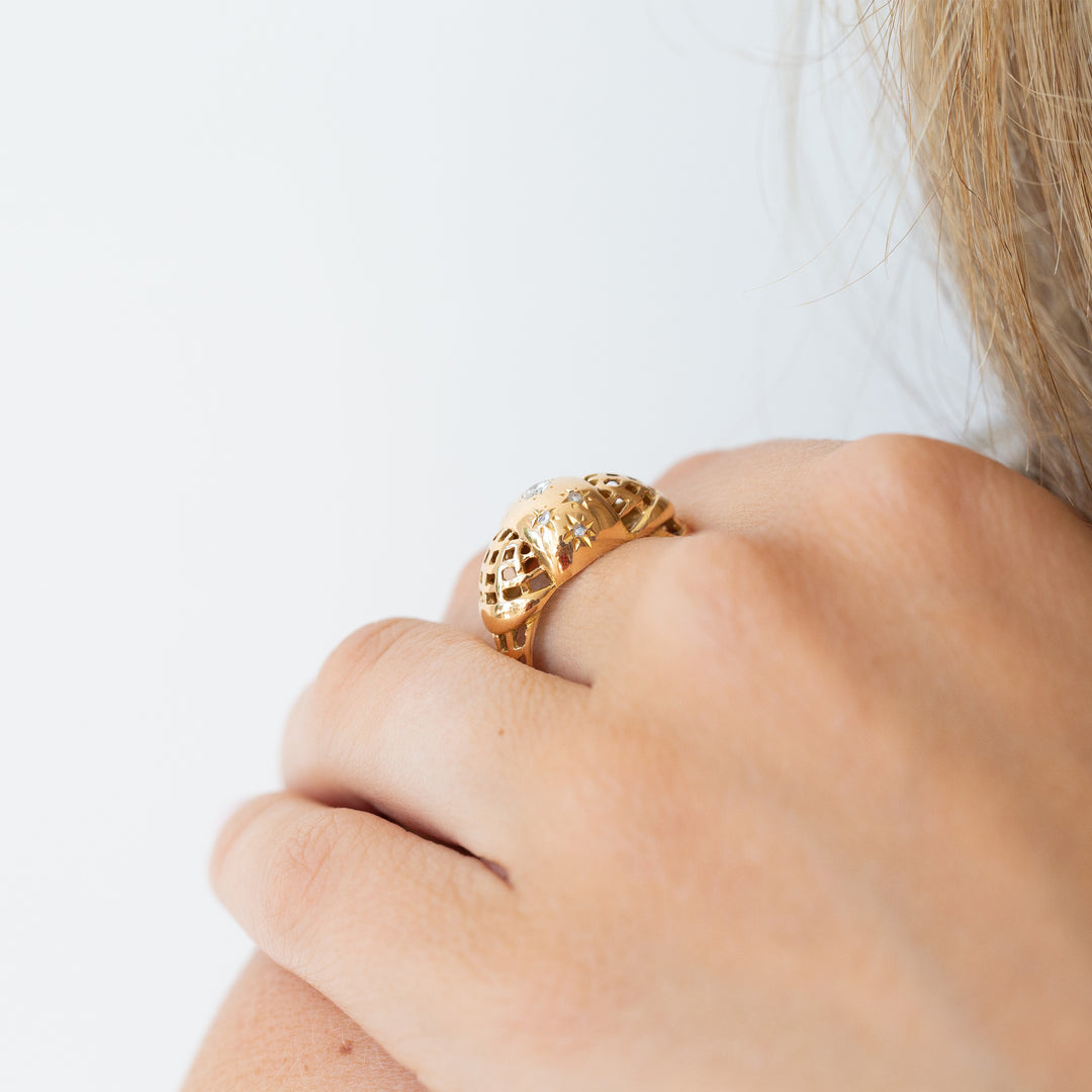 Cut-Out 18k Yellow Gold and Diamond Dome Ring