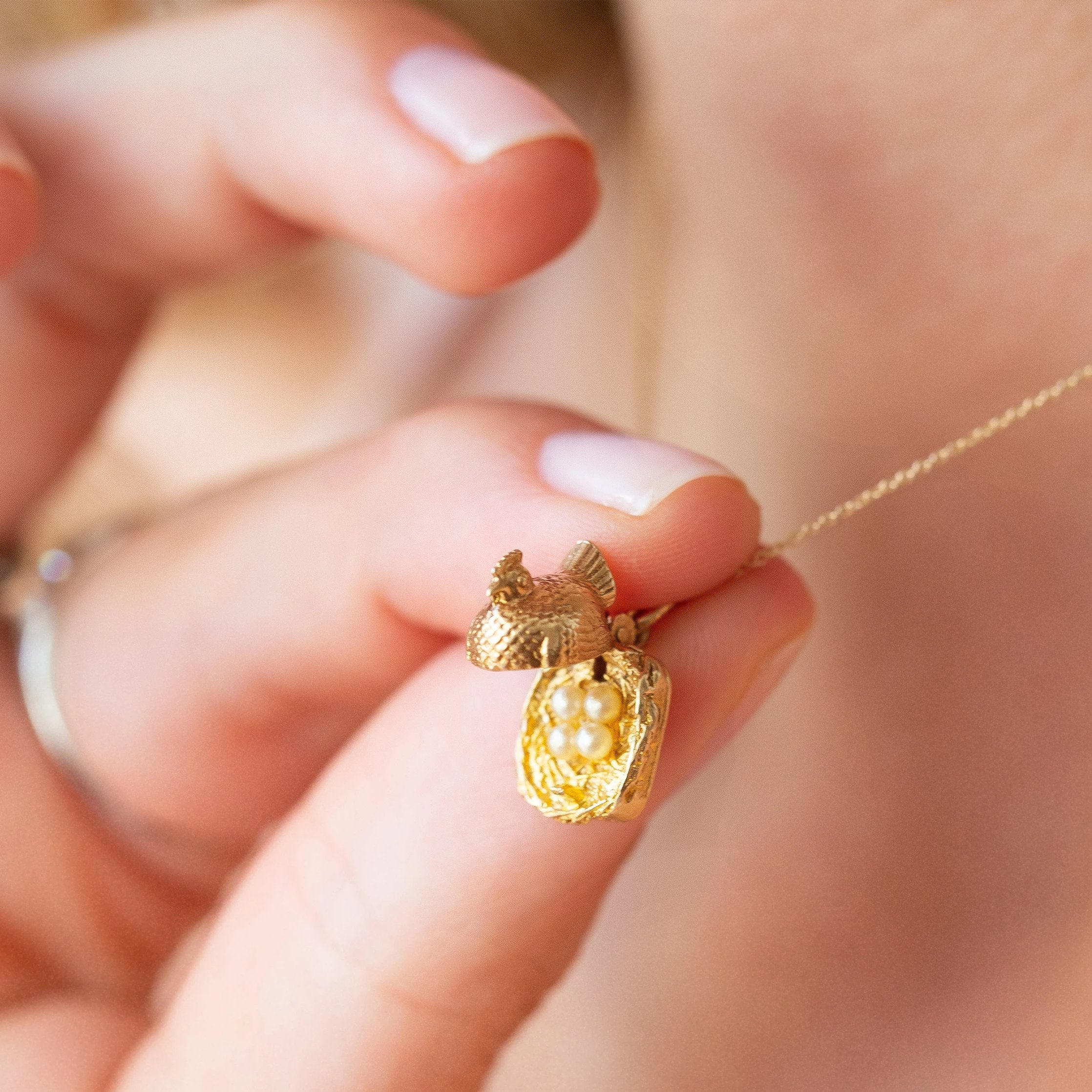 "Movable ""Freshly Laid"" Chicken with Pearls and 14K Gold Charm"