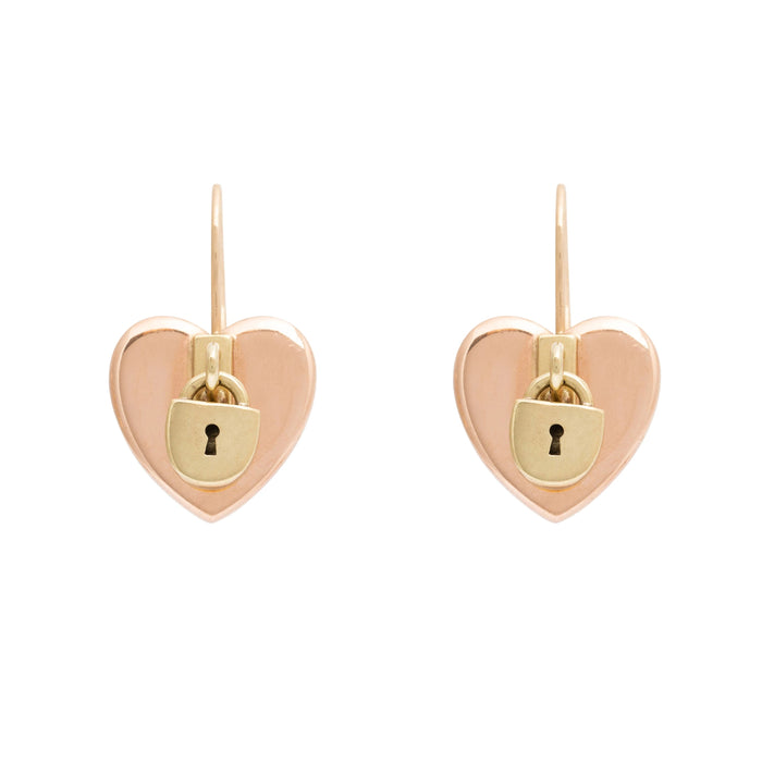 Heart and Lock Bi-Color 14k Rose and Yellow Gold Earrings