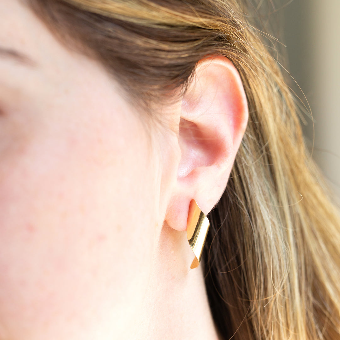 Sculptural Swirl 14K Gold Earrings