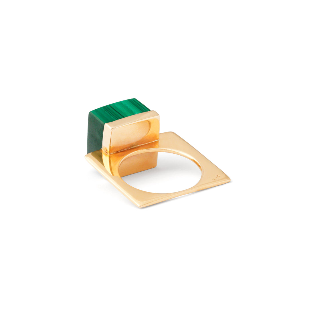 Malachite And 14k Gold Modernist Ring