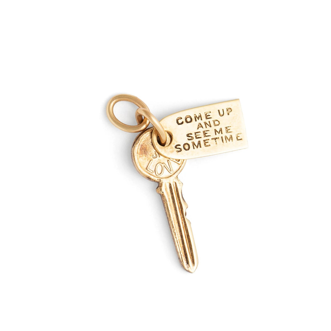 """Come Up and See Me Sometime"" 14k Yellow Gold Key Charm"