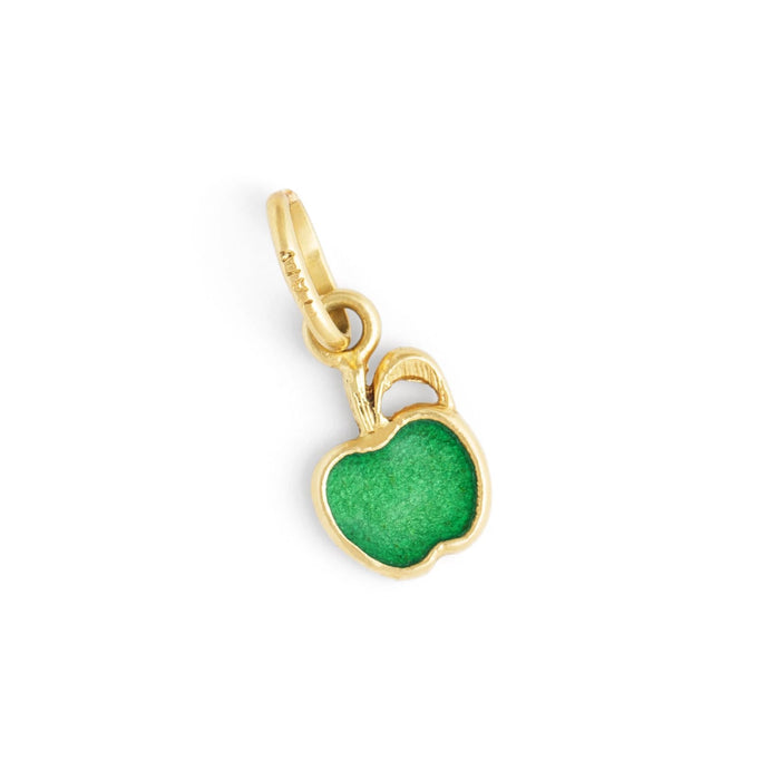 Italian Green Apple Enamel and 14K Gold Charm