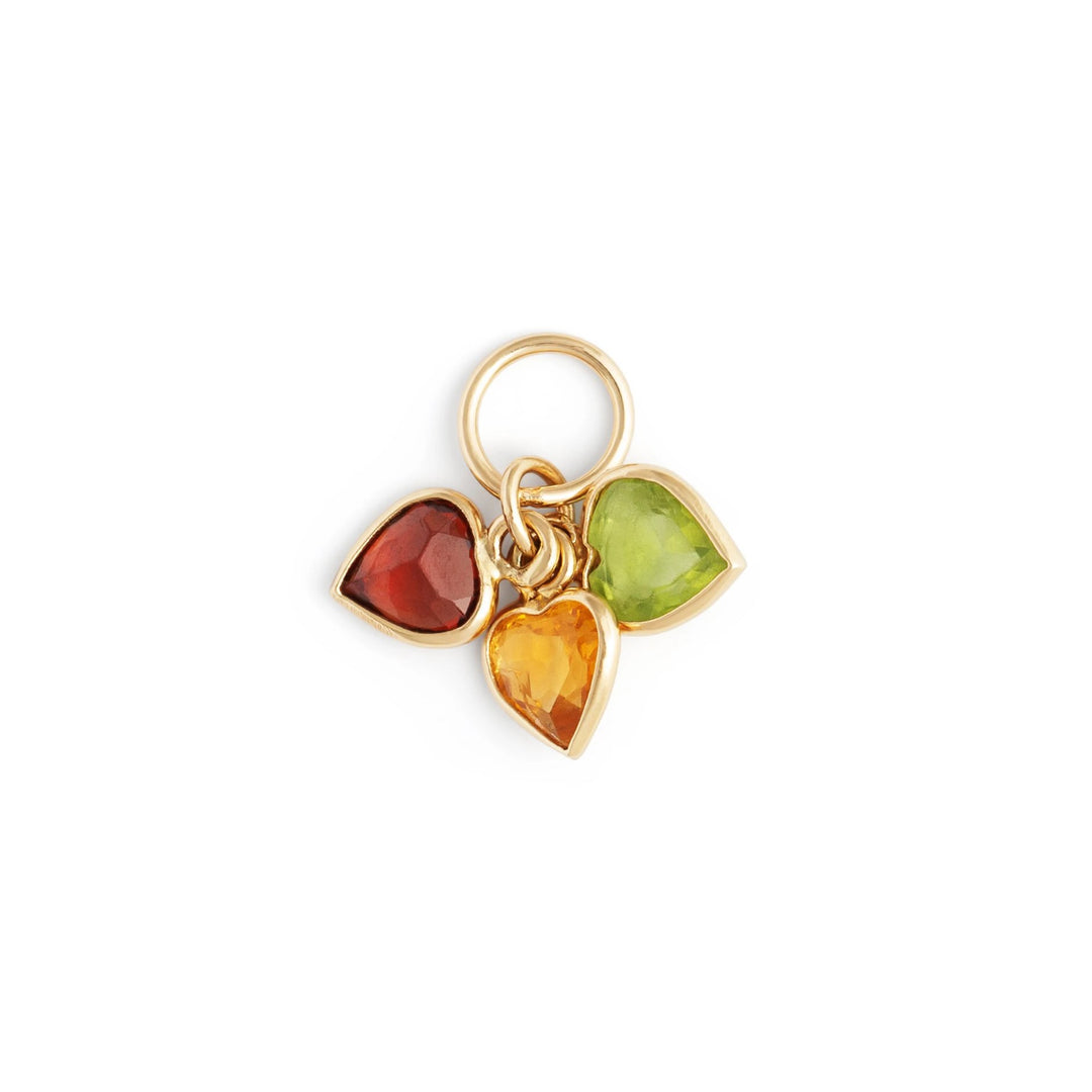 Red, Yellow, and Green Heart 14k Yellow Gold Charm