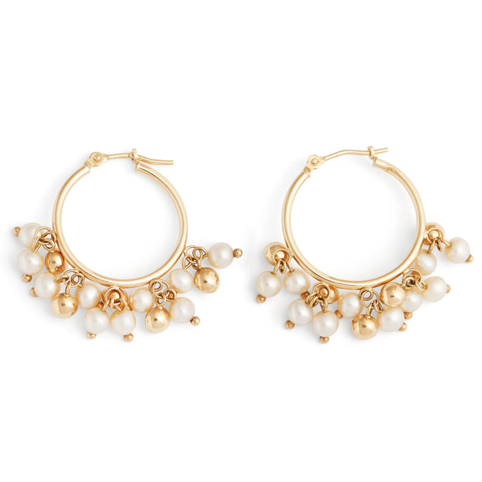 Pearl Fringe 14k Yellow Gold Hoop Earrings