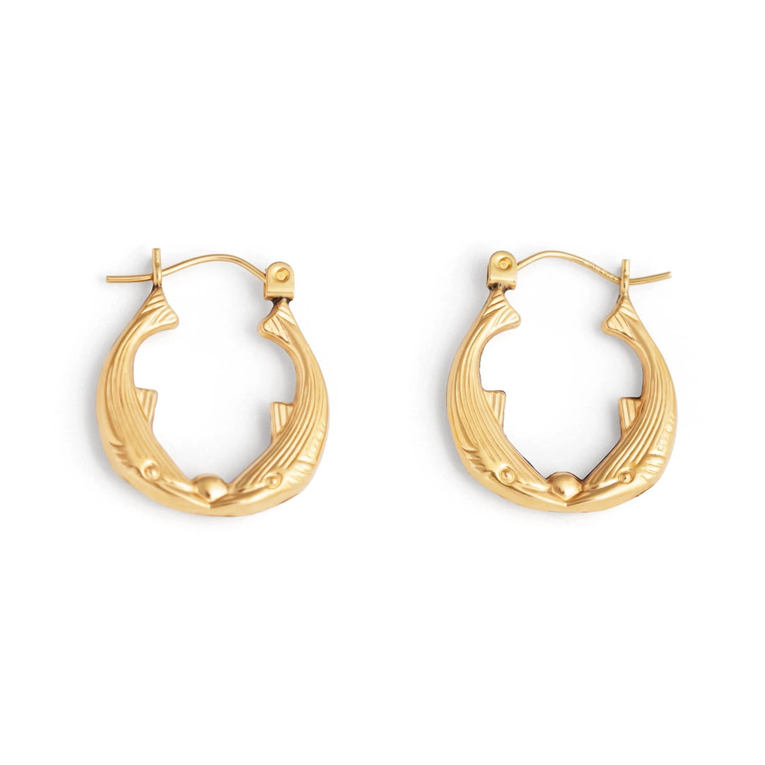 Kissing Fish 14k Gold Hoop Earrings