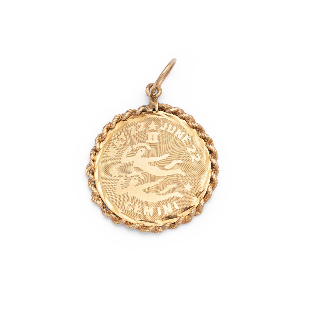Gemini 14k Gold Roped Rim Charm