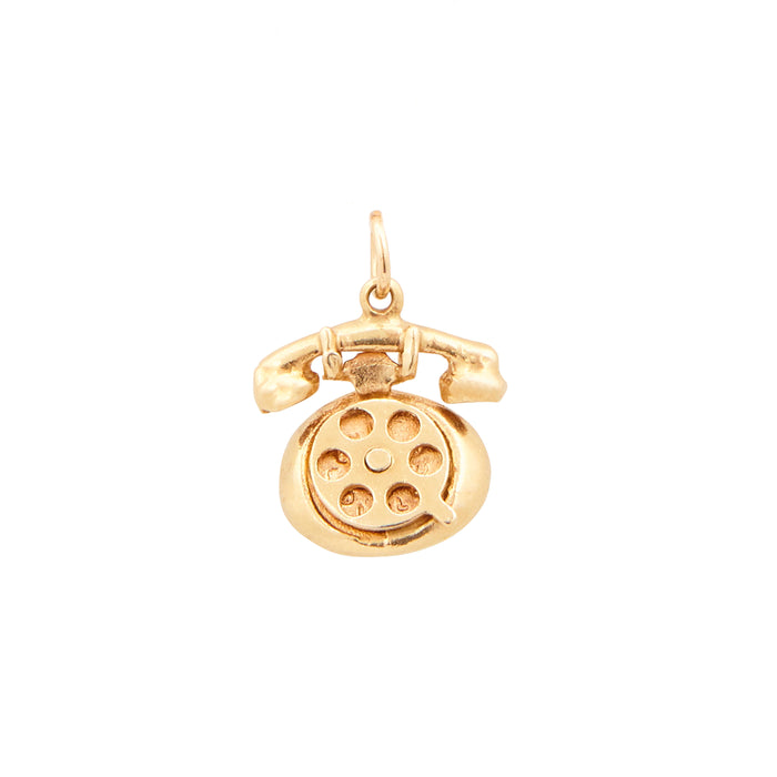 Movable Rotary Phone 14K Gold Charm