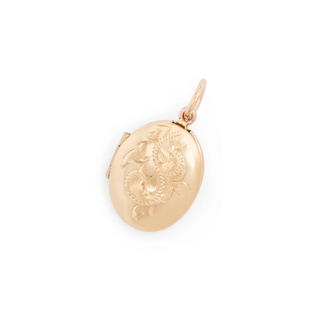 Petite 14K Gold Engraved Locket Charm