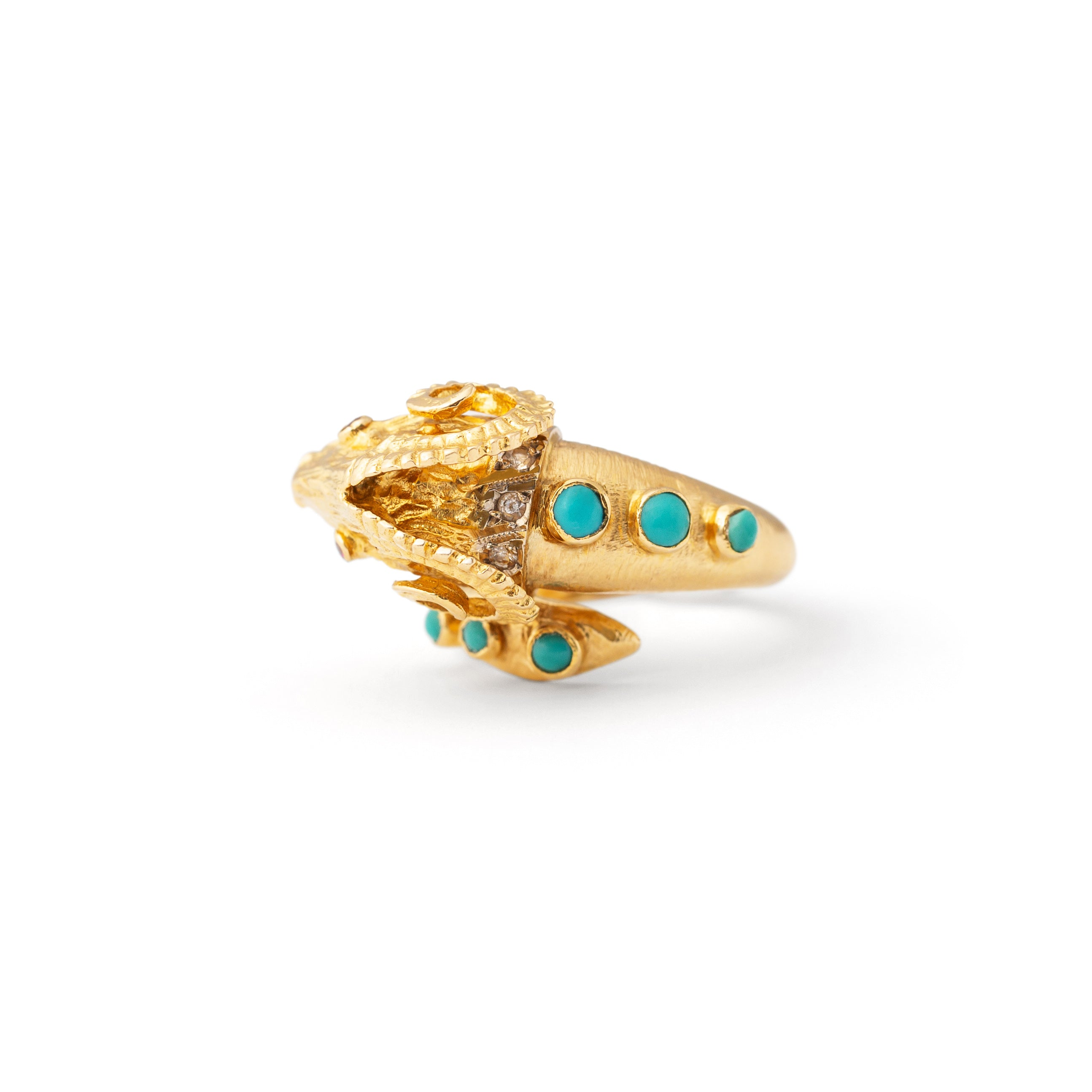 Rams Head Turquoise, Ruby, Diamond, and 18k Gold Ring