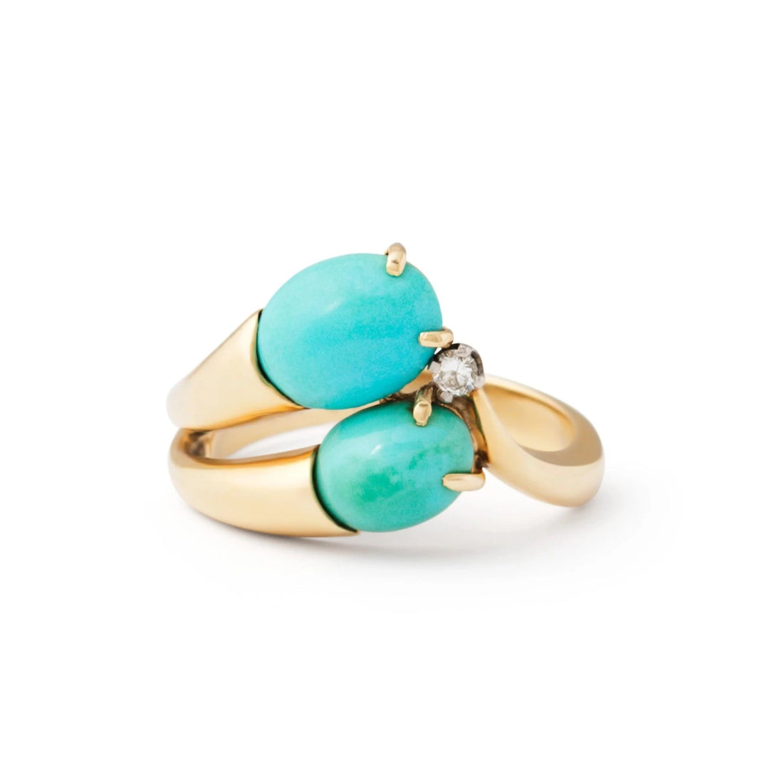 Asymmetrical Turquoise and Diamond and 14k Gold Ring