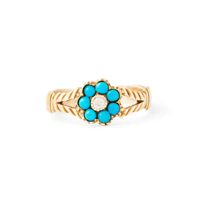 Victorian Turquoise And Diamond Floral Cluster 14k Gold Ring