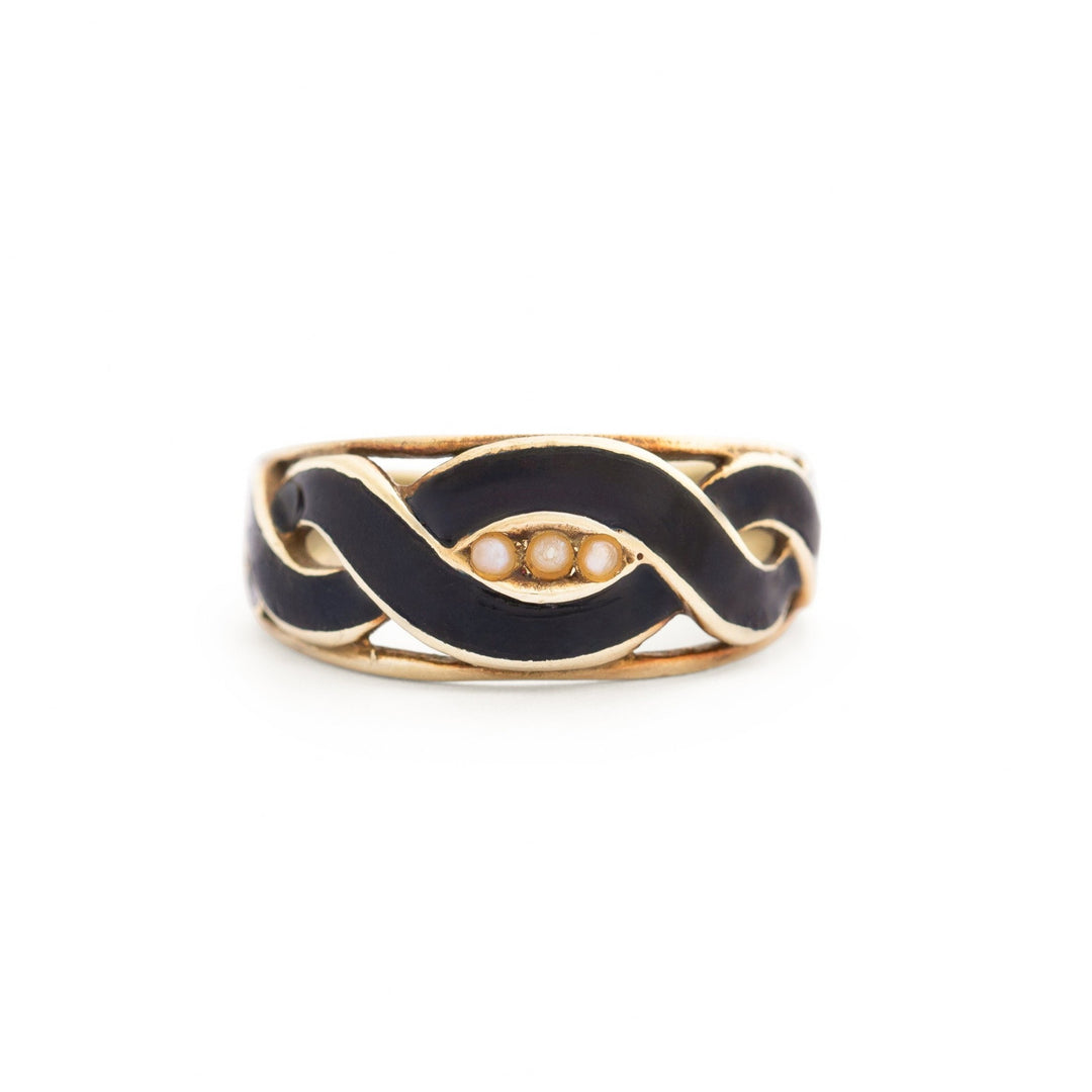 Victorian Black Enamel and Pearl 18k Gold Ring