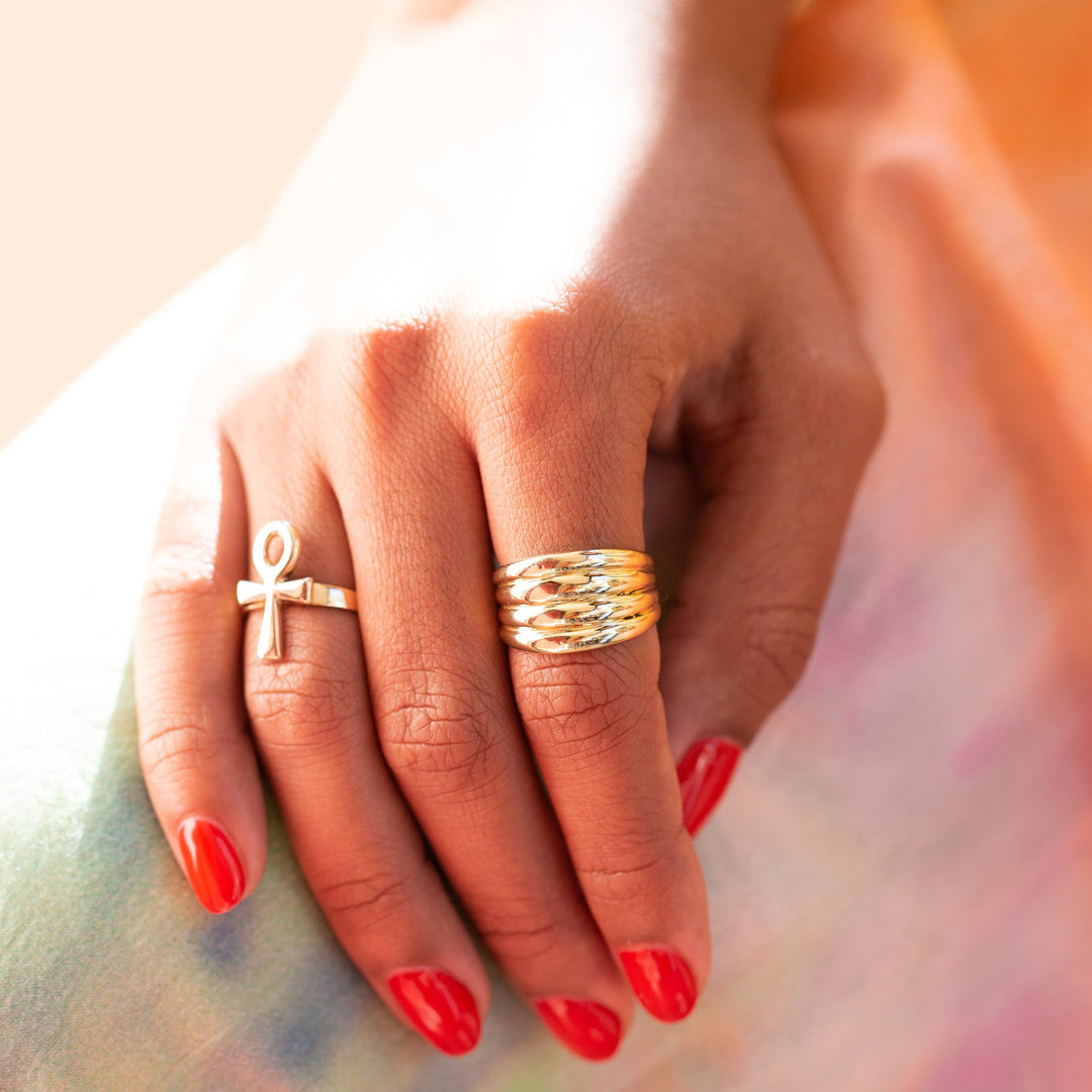 Ribbed 10k Gold Ring