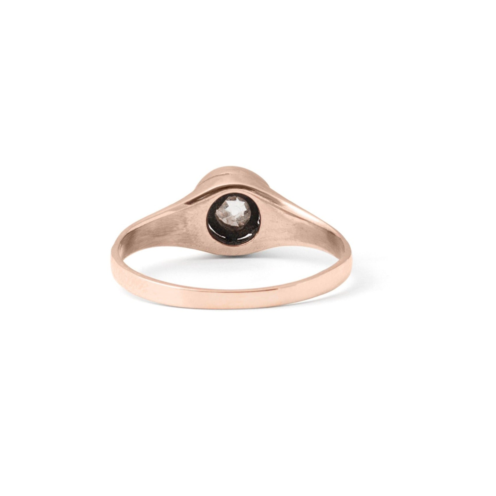 Victorian Old Mine Cut Solitaire and 14k Rose Gold Ring