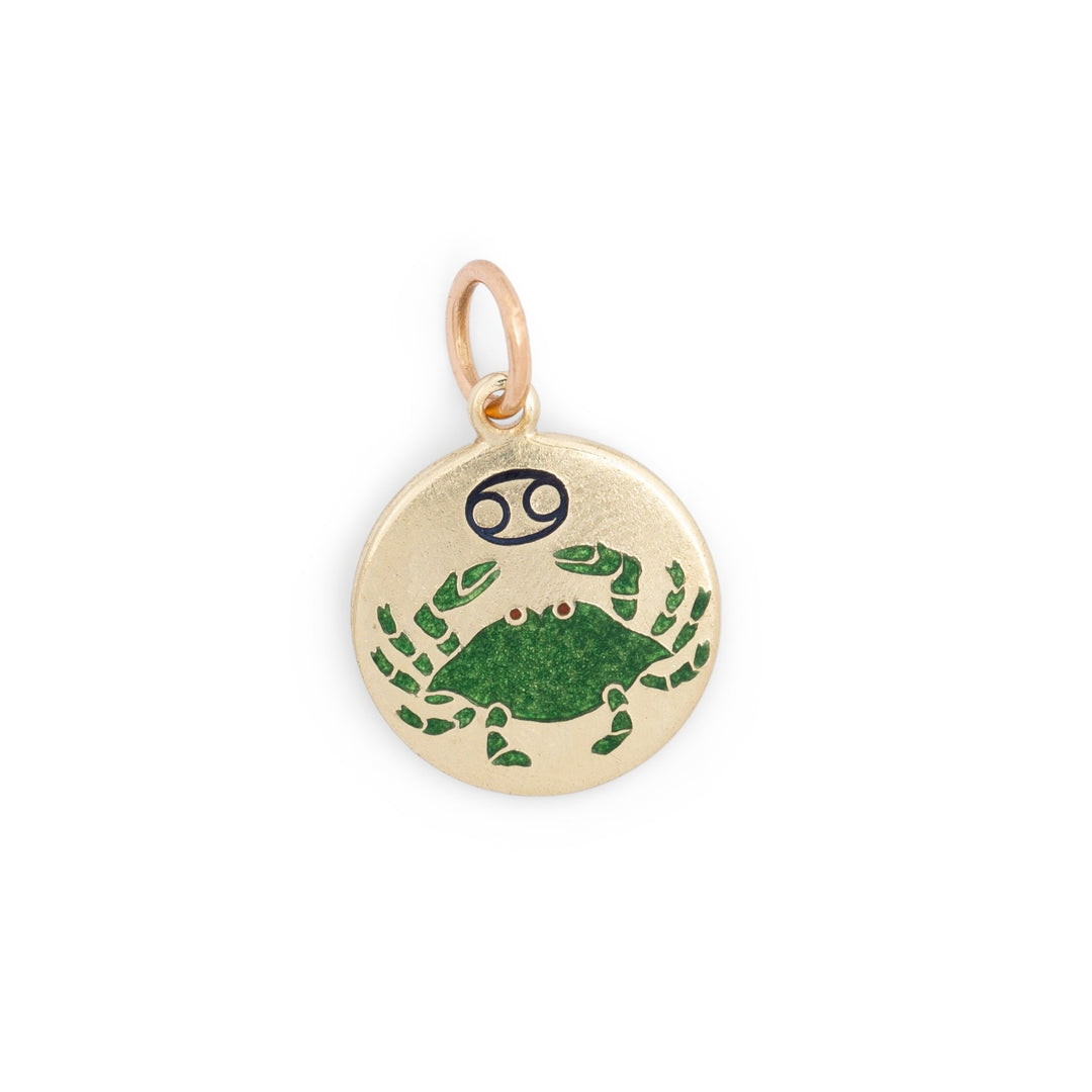 Cancer Enamel and 14k Gold Charm