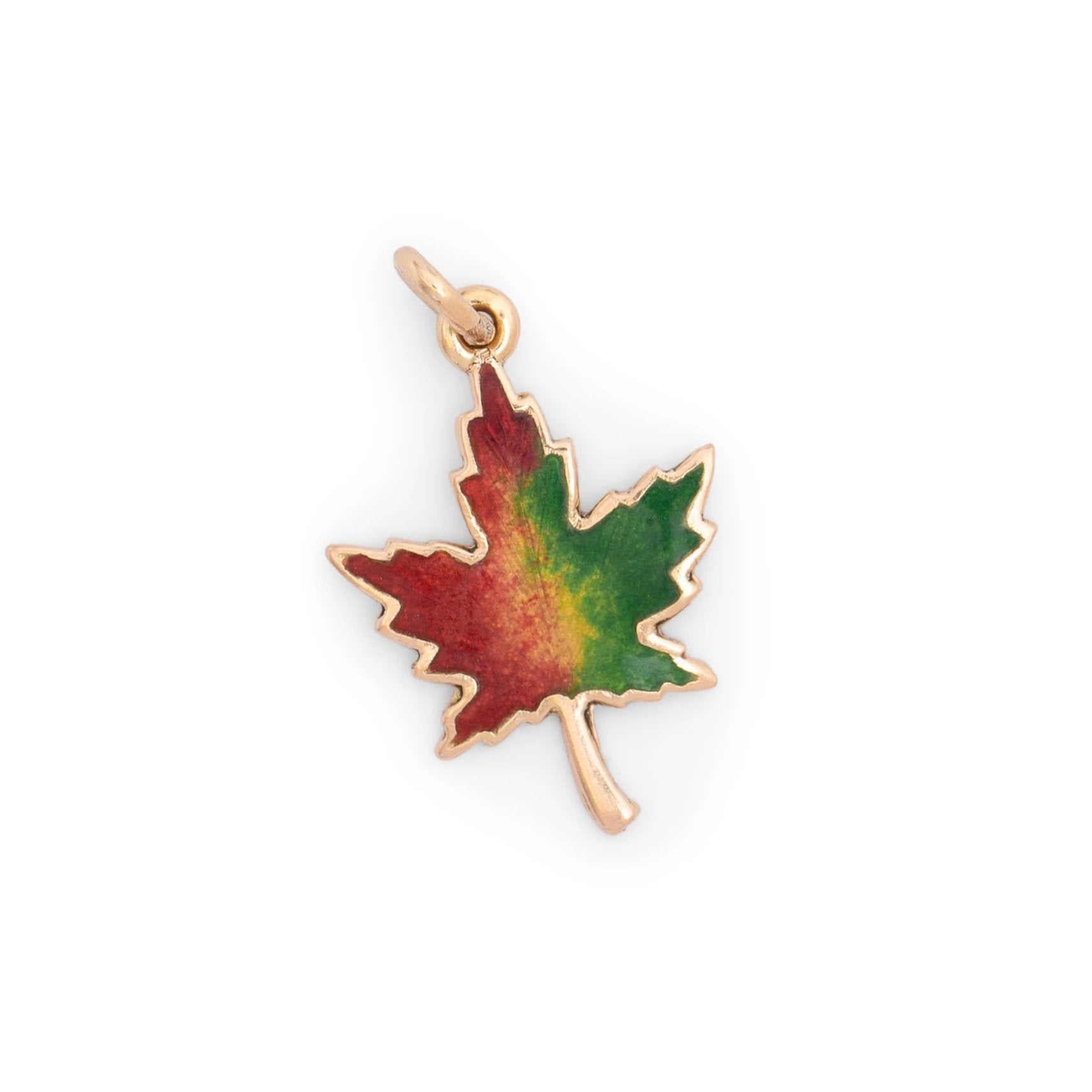 Maple Leaf 10k Gold and Enamel Charm