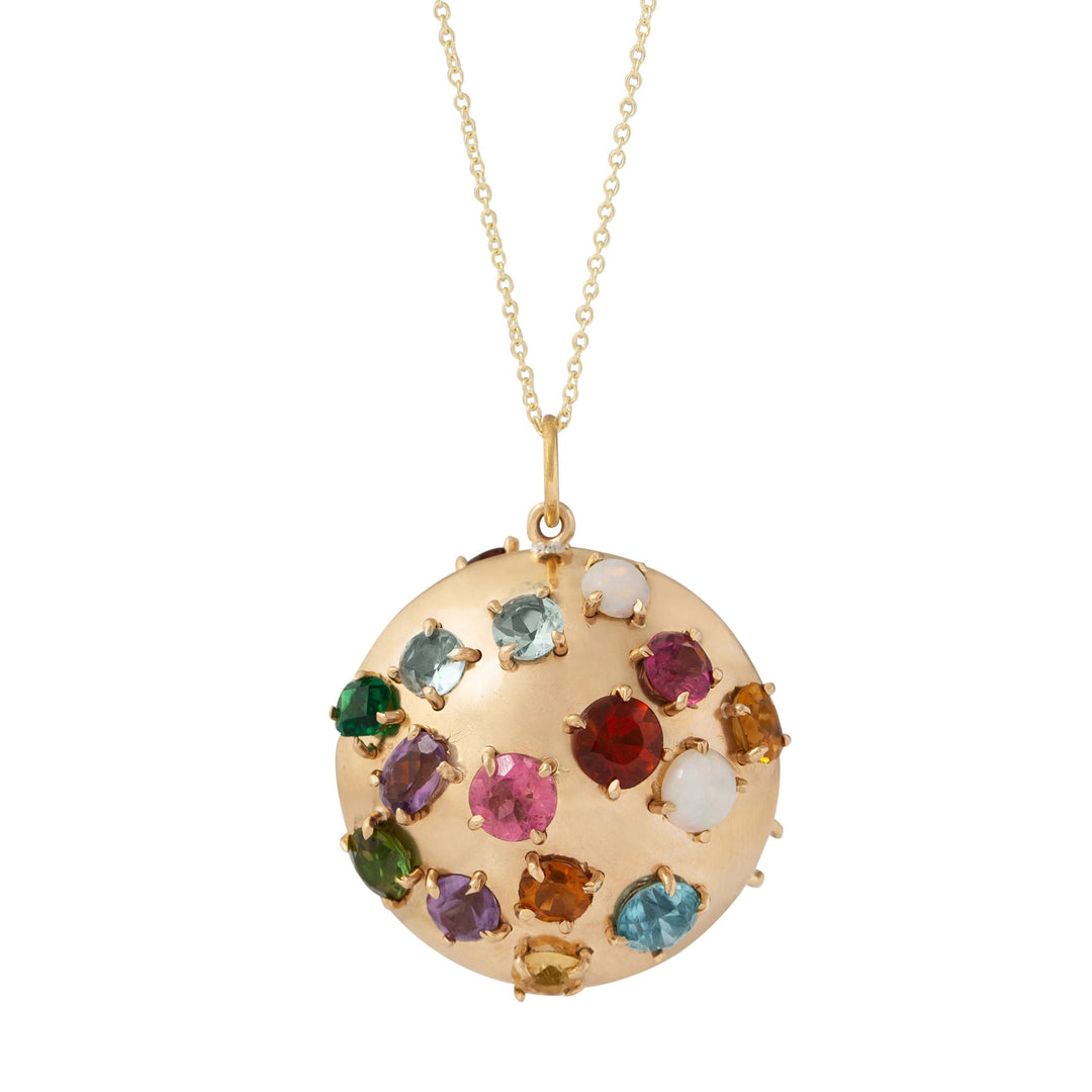 Multi-color Glass Stone and 14K Gold Pendant Necklace