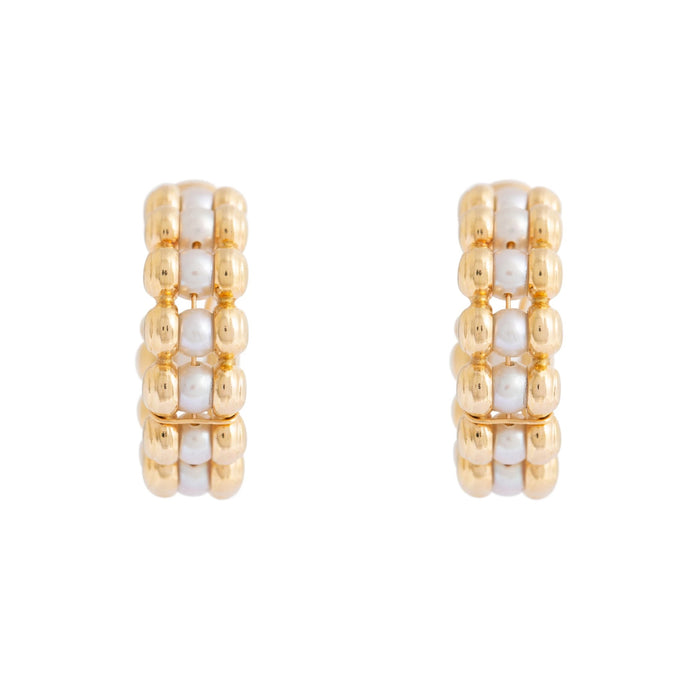 Pearl and 18k Gold Ball Hoop Earrings