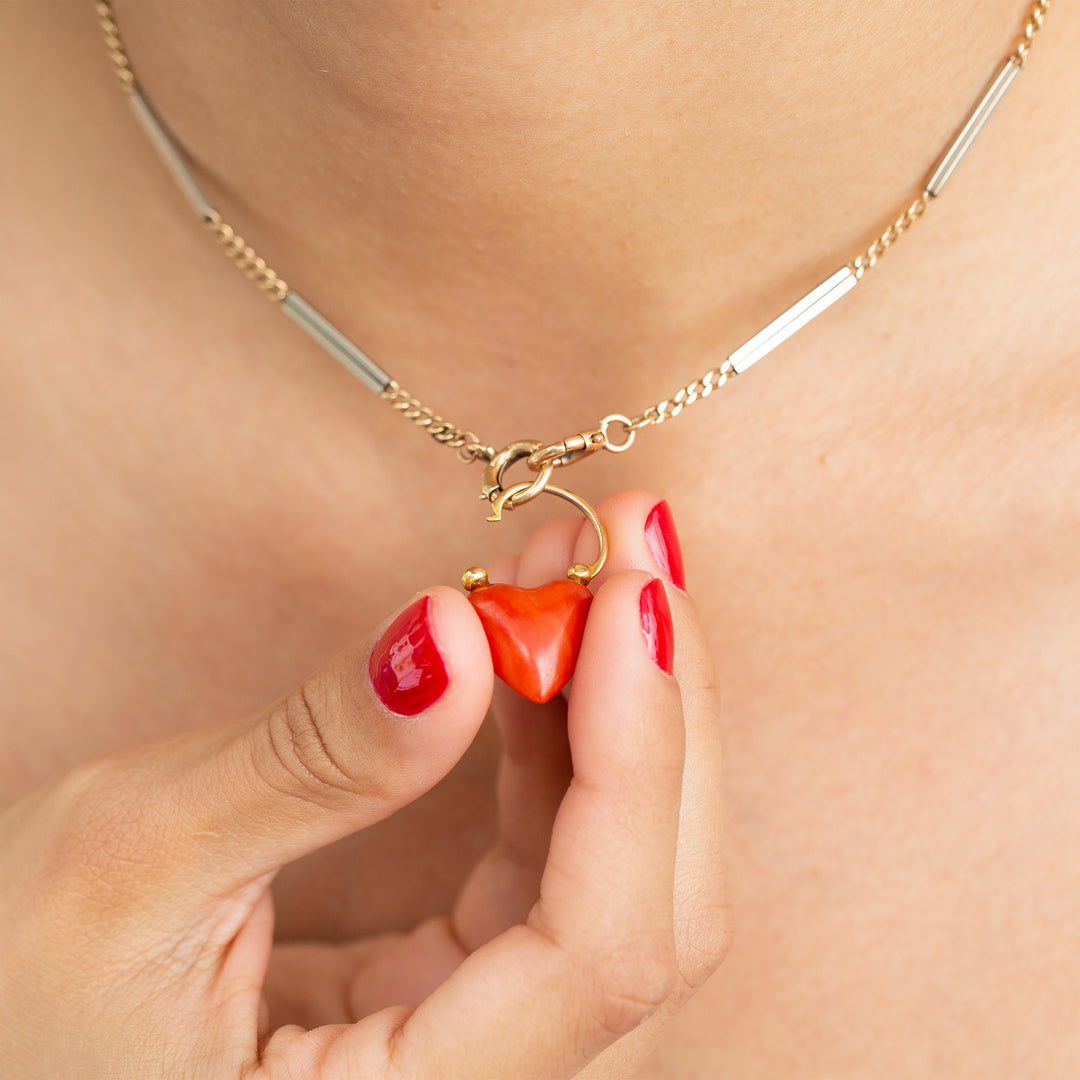 Victorian Coral Lock and 18k Yellow Gold Pendant