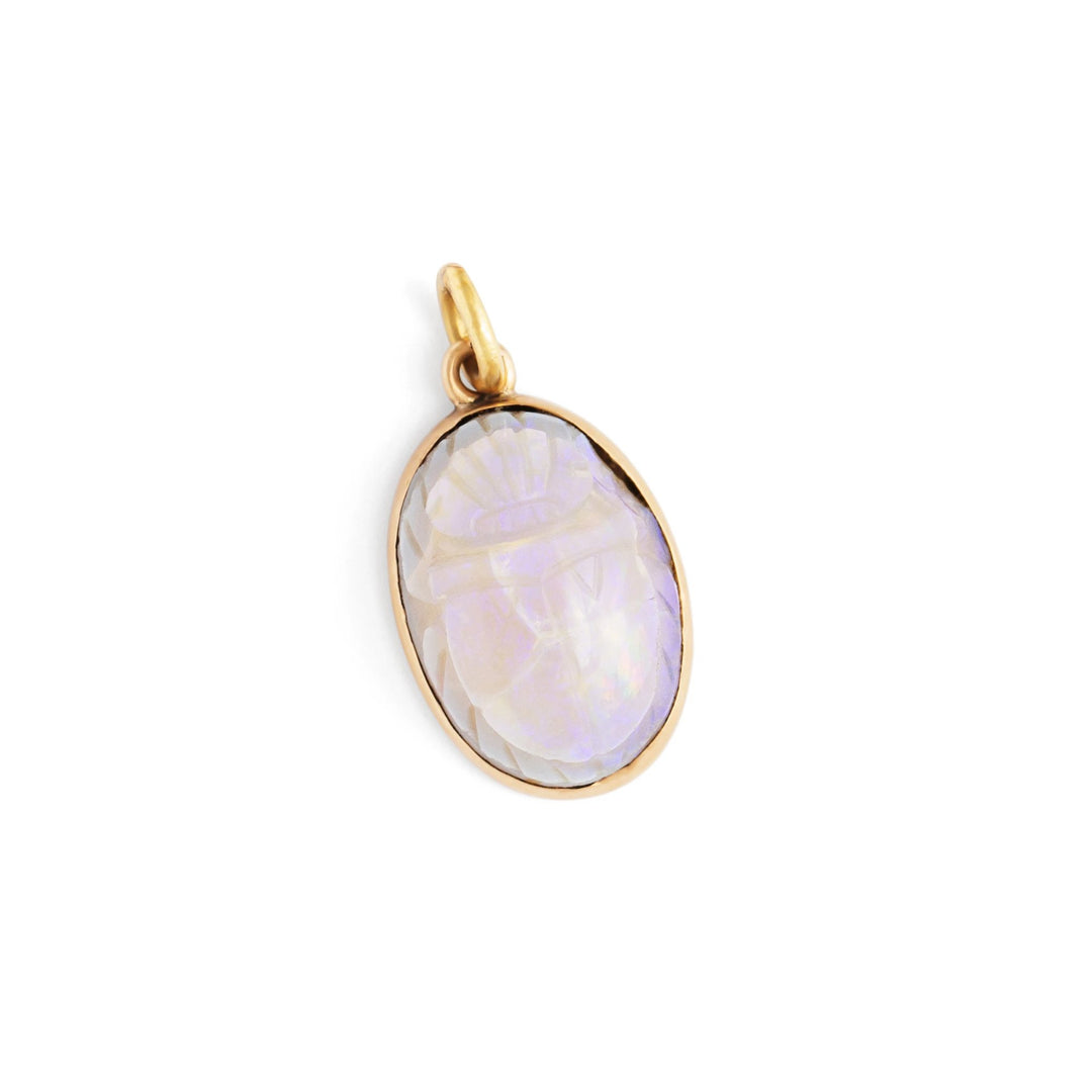 Scarab 14k Yellow Gold and Opaline Glass Charm