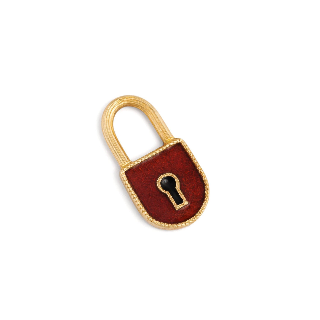 Red Enamel and 14k Yellow Gold Lock Charm