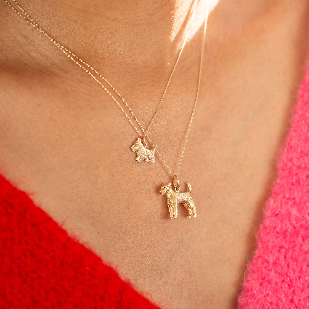 Large Terrier 14k Gold Dog Charm