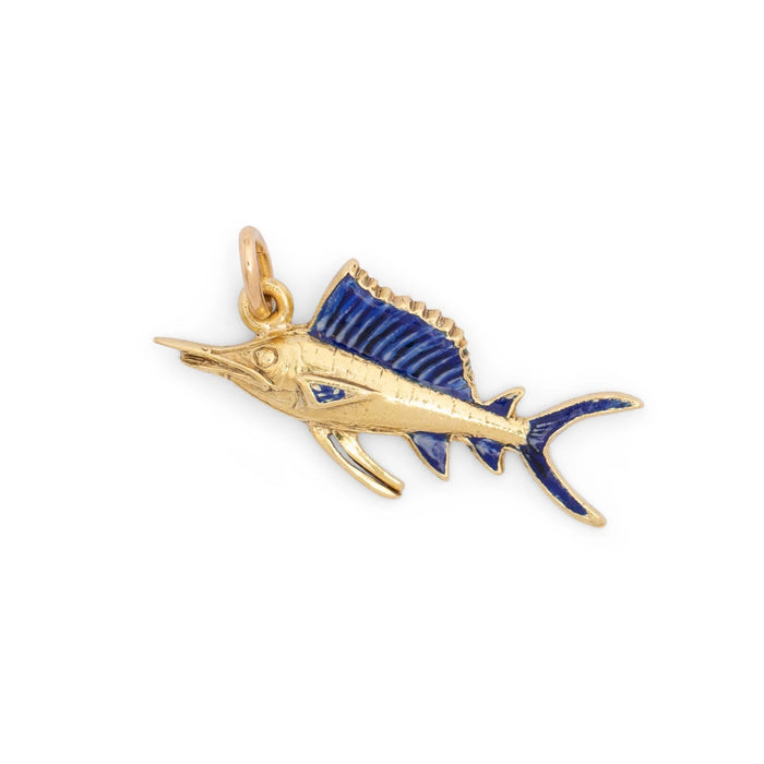 Sailfish 14K Gold and Enamel Charm