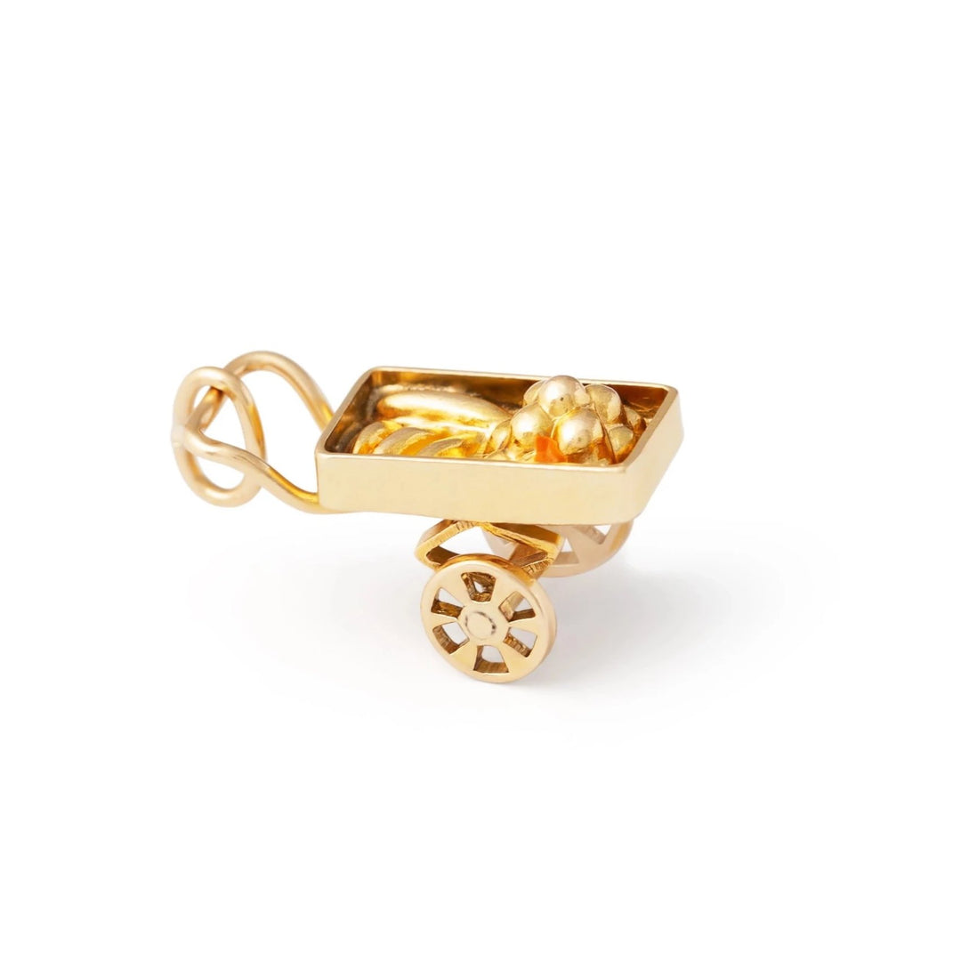 14k Yellow Gold And Enamel Fruit Cart Charm